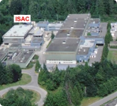 The ISAC (Isotope Separator and Accelerator) building is located just to the north of the main cyclotron building at TRIUMF.
